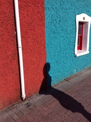 colourful cottage shadow abstract