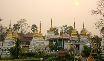 elegant ancient golden pagoda thailand in evening