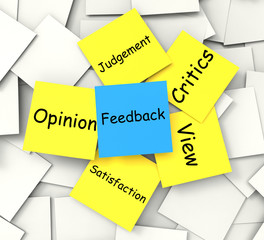 Feedback Post-It Note Means Judgement Review And Critics