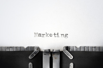 """Marketing"" written on an old typewriter"