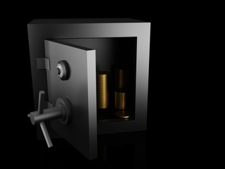 Steel safe box and gold
