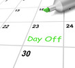 Day Off Calendar Means Holiday From Work