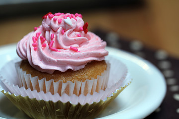 Cupcake with Pink Icing and Sprinkles on White Plate