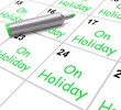 On Holiday Calendar Shows Annual Leave Or Time Off