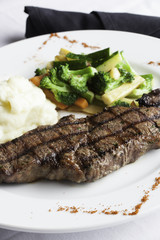 New York Strip Steak with Mashed Potatoes and Mixed Vegetables 3