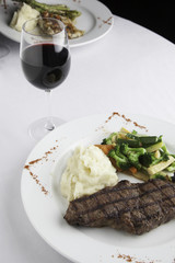 New York Strip Steak with Mashed Potatoes and Mixed Vegetables