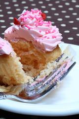 Pink Icing Cupcake with Sprinkles, Fork