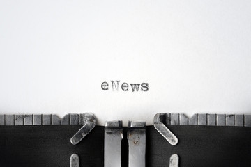 """eNews"" written on an old typewriter"