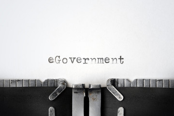 """eGovernment"" written on an old typewriter"