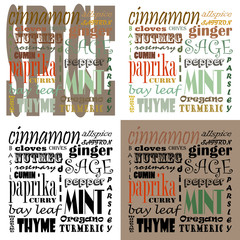 Spice Text Art - Set of 4