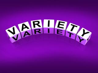 Variety Blocks Mean Varieties Assortments and Diversity