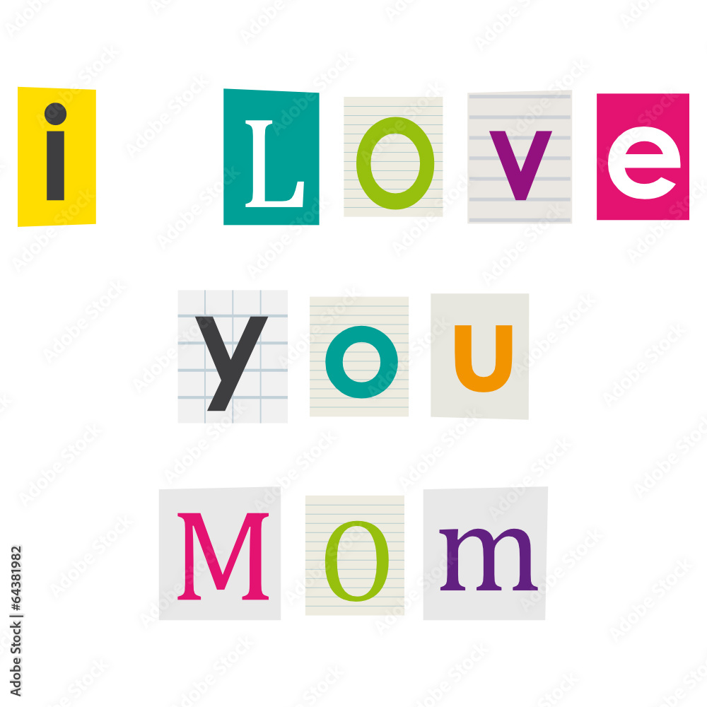 I love you mom letters cut out of books and magazines wall sticker i love you mom letters cut out of books and magazines wall sticker spiritdancerdesigns Images