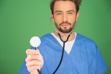 Anaesthetist or doctor holding a stethoscope