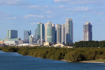 Skyline of Abu Dhabi with mangrove forest in foreground