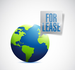 for lease sign on a globe illustration design