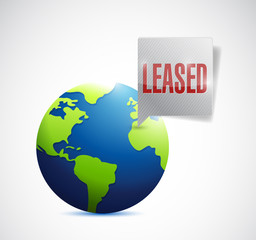leased sign on a globe illustration design
