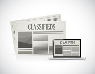 search for classifieds on a computer illustration