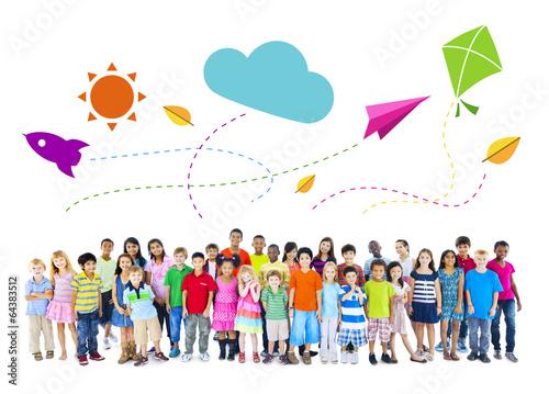 Large Group of Multiethnic Children Activitie