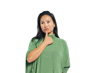 A Young Casual Asian Woman Thinking