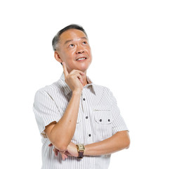 Cheerful Mature Asian Man Thinking