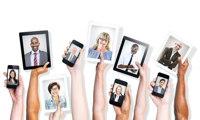 Hands Holding Digital Devices with Business People