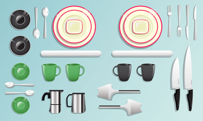 Kitchen equipment and tool icon set