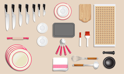 Kitchenware and tool icon set