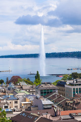View of Geneva water fountain from the Saint-Pierre cathedral -