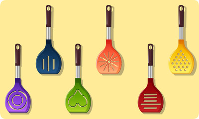 Vector set of colored ladle
