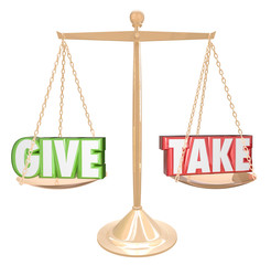Give and Take Gold Scale Balance Sharing Generous Cooperation