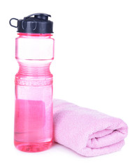 Sports bottle with towel isolated on white