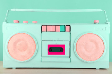 Colorful retro radio, on blue background