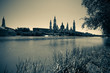 Retro photo of Cathedral and Ebro river in Zaragoza