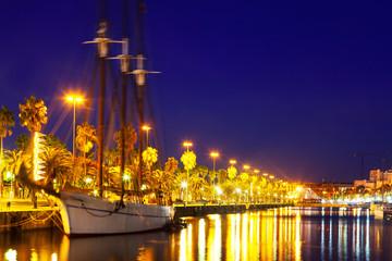 yacht lying at Port Vell. Barcelona
