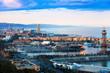 Port of Barcelona in sunny evening - 64388320