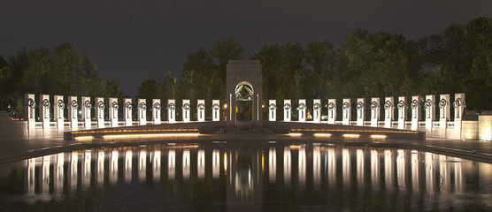 Washington, DC - World War II memorial at night