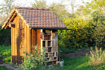 Garden shed with insect hotel