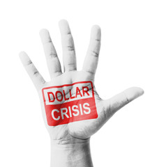 Open hand raised, Dollar Crisis sign painted