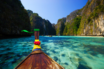 boat in Pileh bay on Koh Phi Phi Leh Island,Thailand