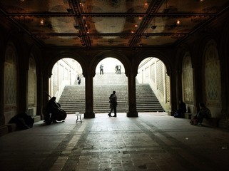 Fiancee on the steps of Bethesda Terrace
