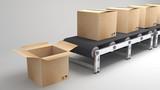 conveyor belt with opend carton - 64392130