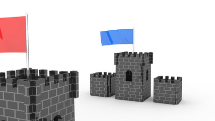 two castles with the flag competition