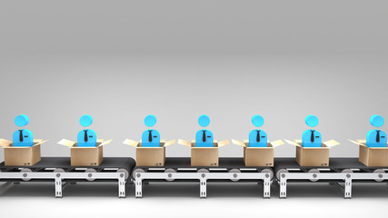 conveyor belt with new employees