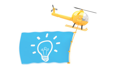 toy helicopter with idea flag