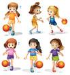 Little female basketball players