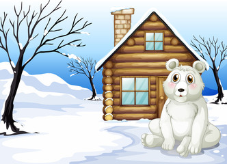 A polar bear outside the wooden house