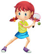 A young girl playing tennis