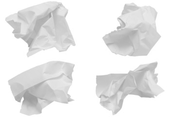 crumpled paper set on white background