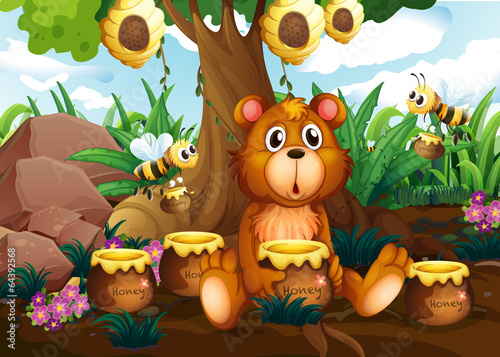 A cute bear under the tree with bees and pots of honey - 64392568