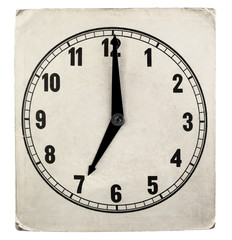 Vintage weathered paper clock face. 7